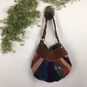 Vintage Lucky Brand Suede Patchwork Hobo Bag 🌿